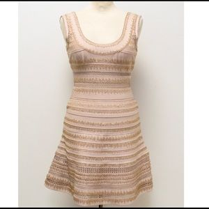 Herve leger pink beige beaded dress